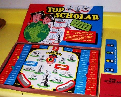 RARE ORIGINAL VINTAGE 1957 TOP SCHOLAR ANTIQUE BOARD GAME-COLLECTIBLE TOY