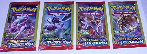 4 Pokemon Break Through Trading Card Game Packs Bundle - 3 cards per pack