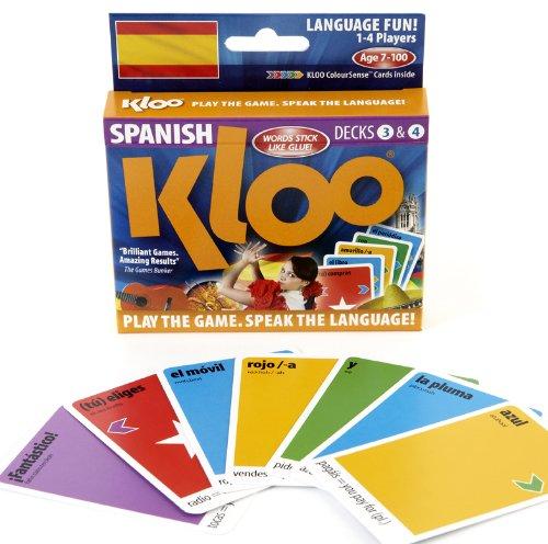 KLOOs Learn to Speak Spanish Language Card Games Pack 2 Decks 3 4