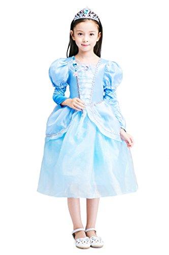 YMING Girls Blue Princess Cosplay Dress Cinderella Costume 9-10 Years