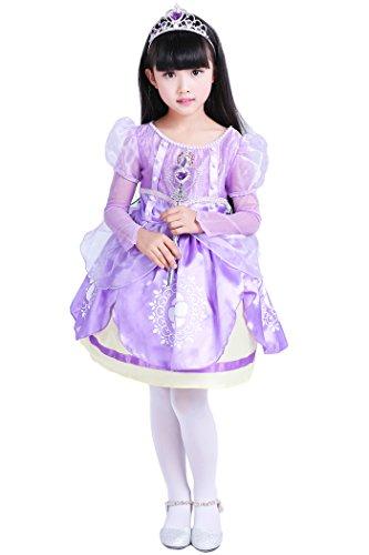 YMING Girls Halloween Costumes Purple Princess Sofia Royal Midi Dress 4-5 Years