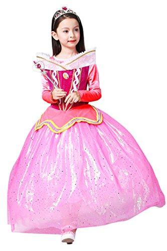 YMING Girls Pink Princess Cosplay Dress Halloween Sleeping Beauty Costume 8-9 Years
