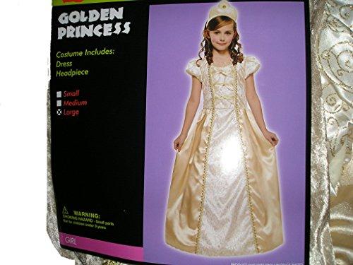 Golden Princess Girls Costume Dress Medium 78 Gold