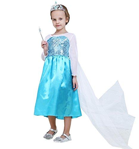 Hot High Grade Snow Queen Elsa Children Girls Costume Dress US-45 Classic-Elsa