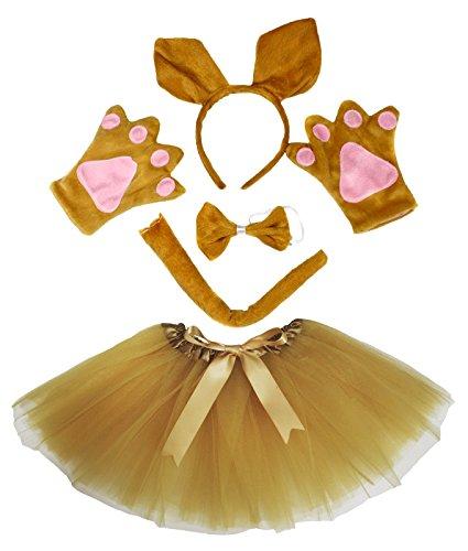 Kangaroo Headband Bowtie Tail Gloves Gold Tutu 5pc Girl Costume Dress for Party