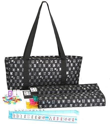 Mah Jongg Full Set Black Designer Logo Soft Case with 166 White Tiles and Four Color Pusher Racks