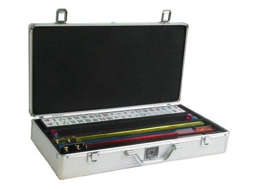 White Swan Mah Jongg Set - WhiteBurgundy Tiles Classic Pusher Arms - Silver Aluminum Mahjong Case