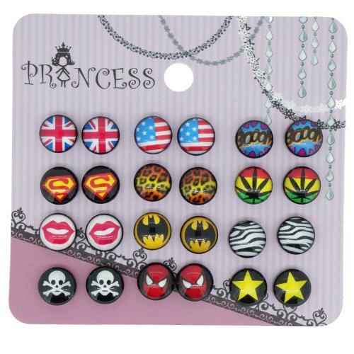 Wholesale Lot of 12 Pairs Comic Hero Men Magnetic Stud Earrings Black Base 8mm by Princess-J