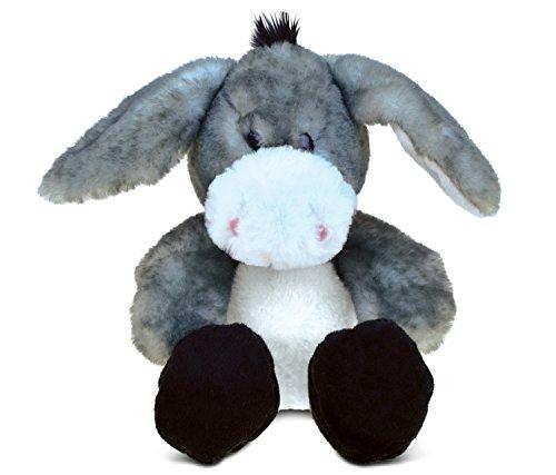 Puzzled Sitting Grey Donkey Super-Soft Stuffed Plush Cuddly Animal Toy - Animal Theme - 9 INCH - Unique huggable loveable New friend Gift - Item 5366