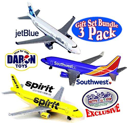 Daron Southwest JetBlue Spirit Airlines Die-cast Planes Mattys Toy Stop Exclusive Gift Set Bundle - 3 Pack
