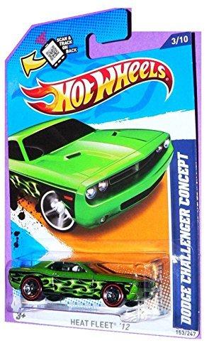 Hot Wheels - Dodge Challenger Concept - GreenFlames - REDLINES - Heat Fleet 12 310 153247