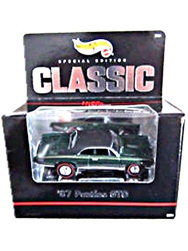 Hot Wheels - Classic - Special Edition - Hills Classic Collection - 67 Pontiac GTO 164 Scale Classic Collector Car Replica Metalflake Dark Green Body Color wBlack Car Top