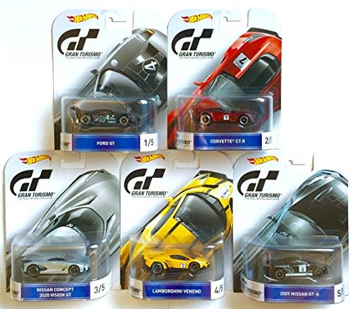 Hot Wheels Gran Turismo Retro Entertainment Set Of 5 Ford GTCorvette C7RNissan Concept 2020 Vision GTLamborghini Veneno 2009 Nissan GT-R