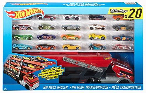 Hot Wheels Mega Hauler Giftset with 20 Hot Wheels Cars Car Styles May Vary