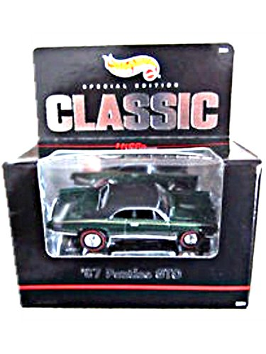 Hot Wheels - Classic - Special Edition - Hills Classic Collection - 67 Pontiac GTO 164 Scale Classic Collector Car Replica Metalflake Dark Green Body Color wBlack Car Top