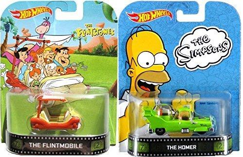 The Homer Flintstones Hot Wheels 2 Car Set - Retro Entertainment Series Die-Cast Simpsons Cartoon Vehicles