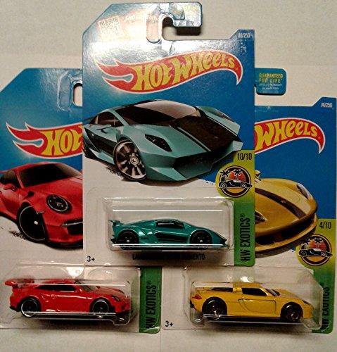 Hot Wheels 3 Car Exotics Bundle Set LAMBORGHINI SESTO ELEMENTO teal 80250 PORSCHE 911 GT3 RS red 78250 PORSCHE CARRERA GT yellow 74250 all 2016 HW Exotics Models