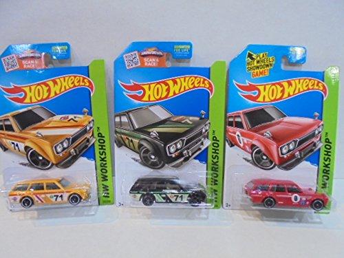 Mattel Hot Wheels 3 71 Datsun Bluebird 510 Wagons Red 206 Black 202 and Yellow 202
