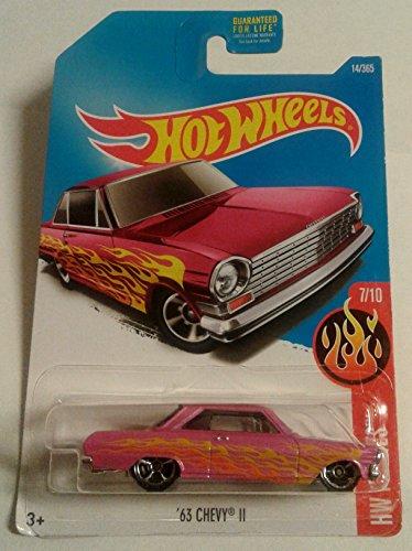 Hot Wheels 2017 HW Flames 63 Chevy II Pink 14365
