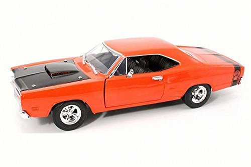 1969 Dodge Coronet Super Bee Orange w Black Hood - Motor Max 73315AC - 124 Scale Diecast Model Toy Car by Motor Max