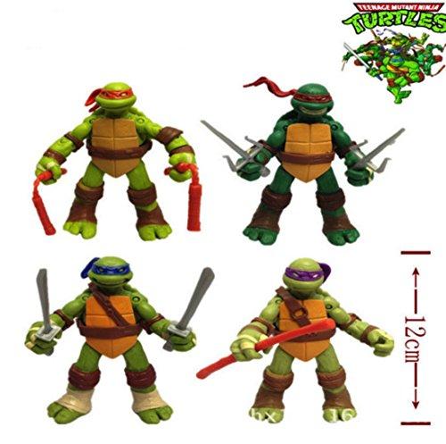 4 Pcs Teenage Mutant Ninja Turtles Figures Toys Action Set TMNT Collection Mini Movie 47 inch Scale 160
