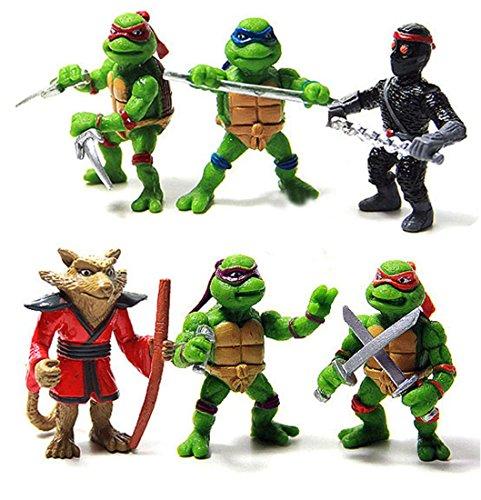 Small 6 Pcs Teenage Mutant Ninja Turtles Figures Toys Action Set TMNT Collection Mini Movie 14 inch Scale 148