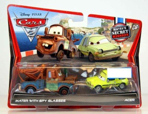 Disney  Pixar CARS 2 Movie Exclusive 155 Die Cast Car 2Pack Mater with Spy Glasses Acer Maters Secret Mission