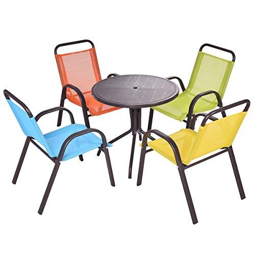 AyaMastro Set of 5 Pcs Kids Table Set Fiber Seat Back w4 Chair