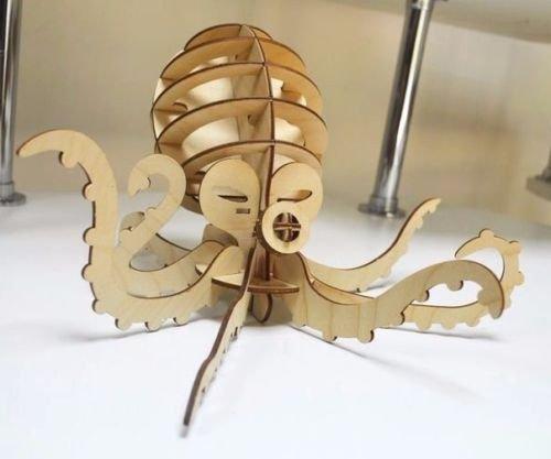 Octopus 3D Woodcraft Hobby Wooden Model Laser Cut Puzzle Kit