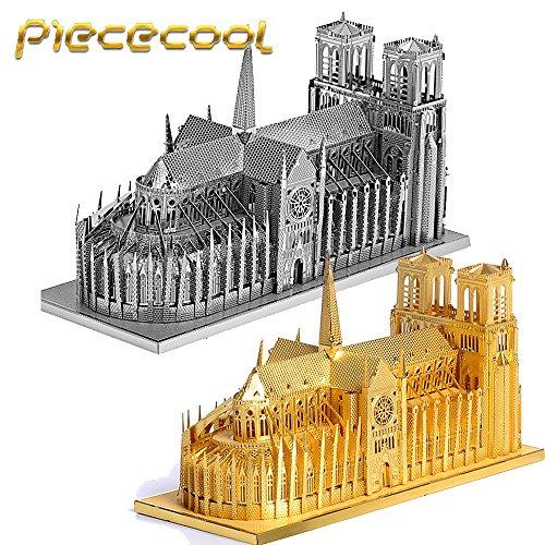 Piececool Notre Dame Cathedral Paris P016-G Building Model DIY 3D Laser Cut Metal Jigsaws Puzzle Toys - Gold
