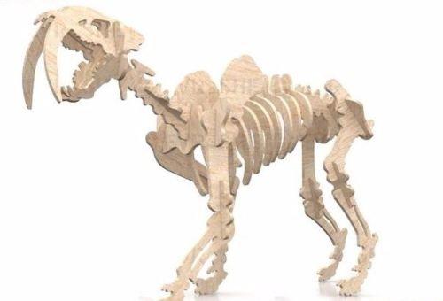 Tiger Skeleton Dinosaur 3D Woodcraft Hobby Wooden Model Laser Cut Puzzle Kit