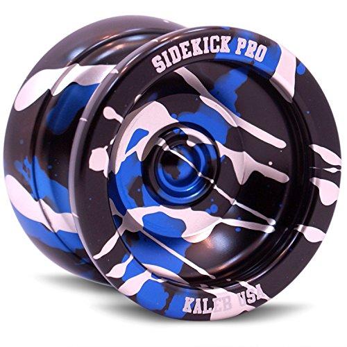 Sidekick YoYo Silver Splashes Aluminum Sidekick Black  Blue