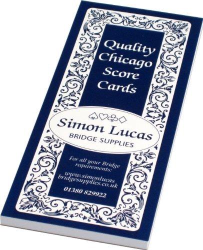 Chicago Bridge Score Cards - Bumper Size - 100 Games Per Pad by Simon Lucas Bridge Supplies
