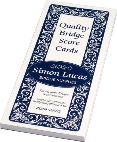 Rubber Bridge Score Cards - Bumper Size - 100 Games Per Pad by Simon Lucas Bridge Supplies