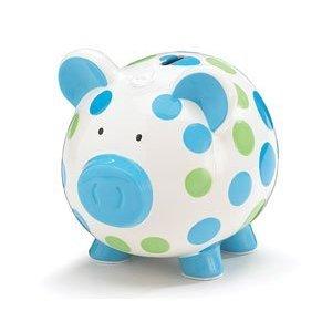 Blue And Green Polka Dot Piggy Bank Adorable BabyToddler Gift
