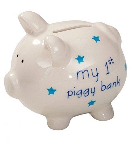 NEW - MY 1ST PIGGY BANK  MONEY BOX BLUE CHRISTENING OR BABY SHOWER BOYS GIFT