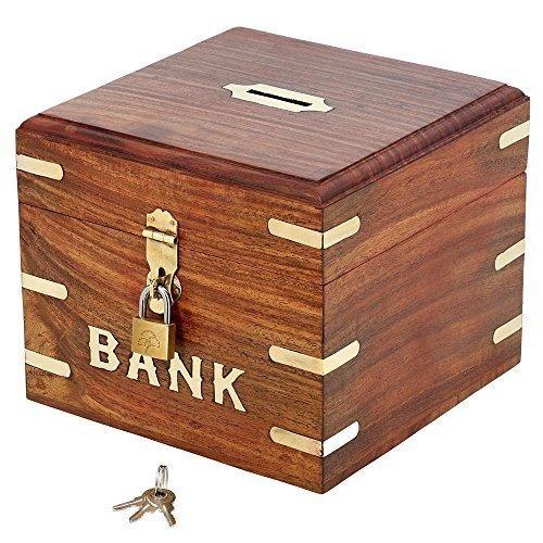 Indian Coin Bank Money Saving Box - Banks for Kids Adults - Wood Vacation Piggy Bank