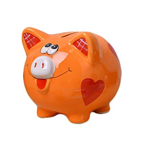Romantiko Ceramic Pig Piggy Bank Coin Bank Orange for Kids Gift