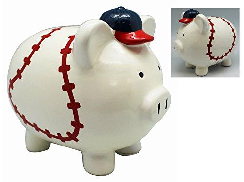 Blue Hat Baseball Player Ceramic Piggy Bank