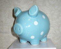 Polka Dot Ceramic Piggy Bank Blue