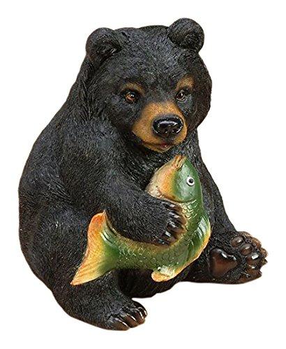 StealStreet SS-UG-CAC-706 5 Bear Holding A Fish Ceramic Piggy Bank BlackGreen