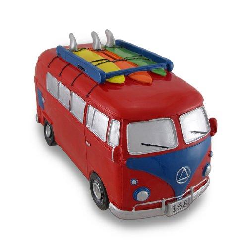Red  Blue Surfer Van Large Piggy Bank Bus