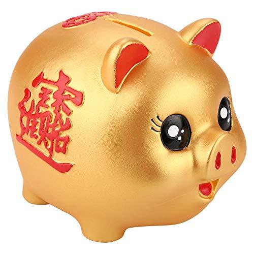 Hongzer Golden Piggy Bank Golden Cute Plastic Pig Bank Pig Toy Coin Money Cash Collectible Saving Box Kids Money Banks Kids Gifts