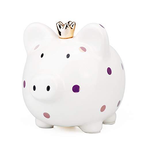 VANVENE Large Ceramic Piggy Bank for Kids Girls Boys Polka Dot Crown Princess Pig Money Bank Money Box Coin Bank Makes a Perfect Unique Gift Nursery Décor Keepsake or Savings Money for Kids