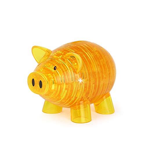 babyHUIH 3D Crystal Puzzle Building Block DIY Pig Model Piggy Bank Jigsaw Kit Educational Toys