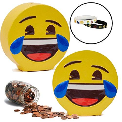 Emoji Coin Piggy Bank with Memory Bracelets Laughing Tears Emoji