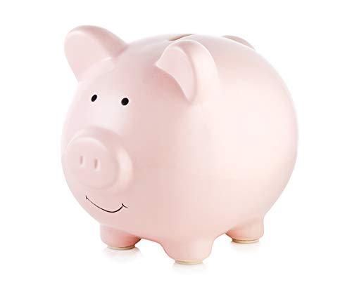 Cute Piggy Bank Ceramic Pig Money Bank Coin Banks Nursery Decor Best Gift for Baby Boy Girl Children Adult Lover by PigPink