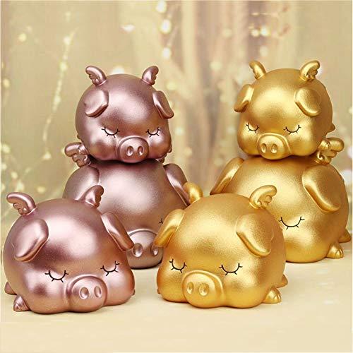 Gsdviyh36 Sleeping Pig Piggy Bank Children Money Saving Deposit Box Desktop Ornament Gift Safe Coin BankSturdy Money Saving Jar Make Saving a Habit Golden S