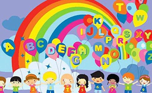 43X66 Area Rug Educational Balloons Kids Abc Rainbow Party 5X7