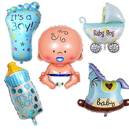 Emorefun Toys Mini Aluminum Film Balloon For Kid Birthday Party Decor Male Baby Series Feeding Bottle Foot Baby Stroller Wooden Horse Blue